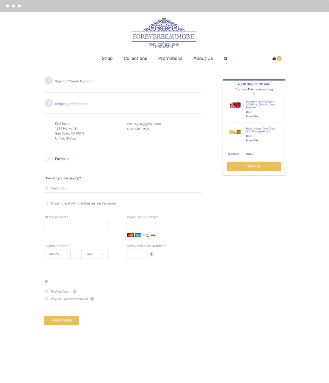 Forever Beaumore Ecommerce Screen