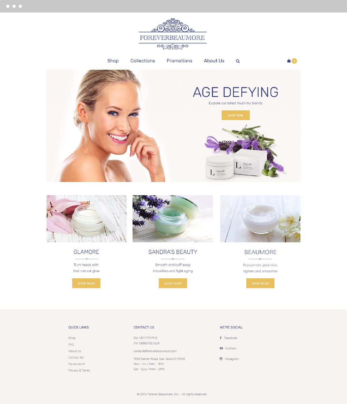 Forever Beaumore Website Design Screen