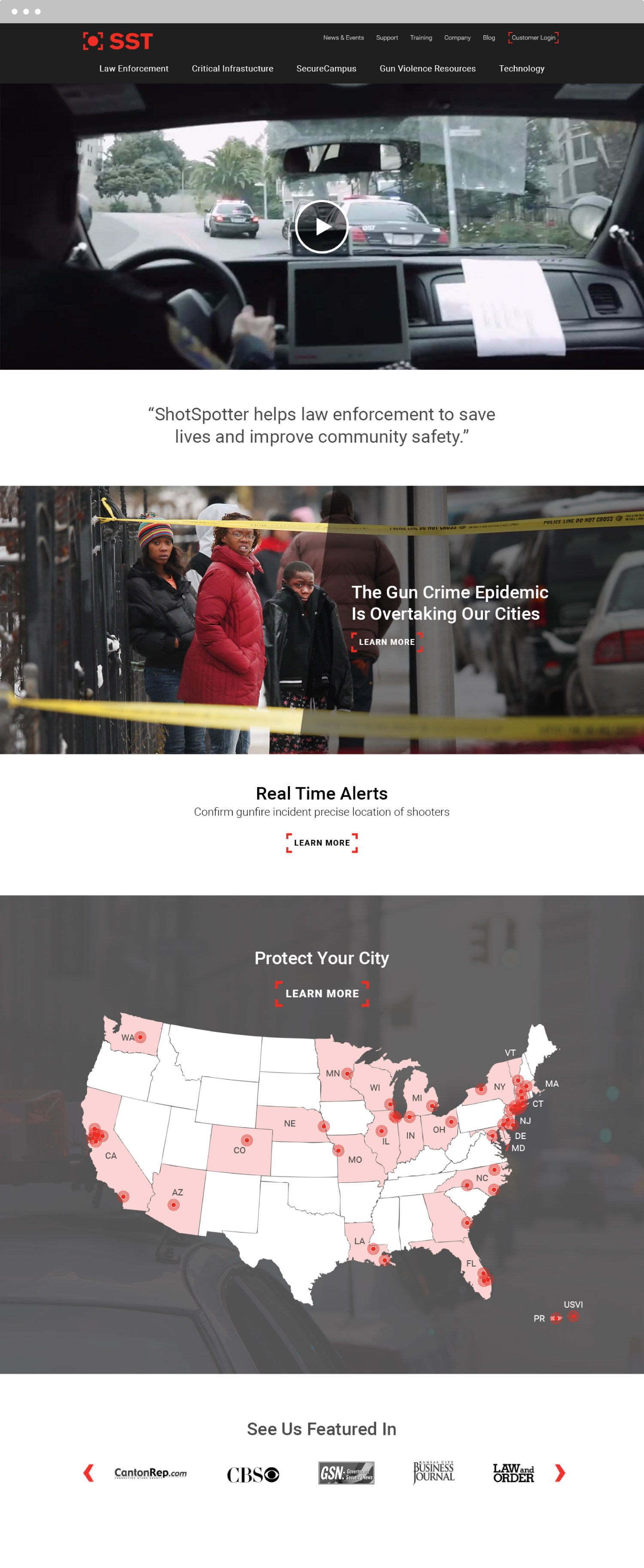 ShotSpotter Website Desing Responsive